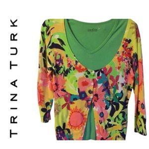 Trina Turk small floral light weight cardigan nwot